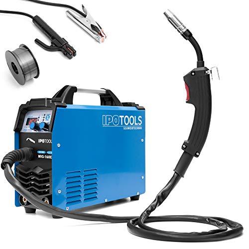 IPOTOOLS MIG-160ER Inverter Schweißgerät MIG MAG - Schutzgas Schweissgerät mit 160 Ampere auch FLUX/Fülldraht und Elektroden geeignet/E-Hand/Digitalanzeige/IGBT / 230V / 7 Jahre...