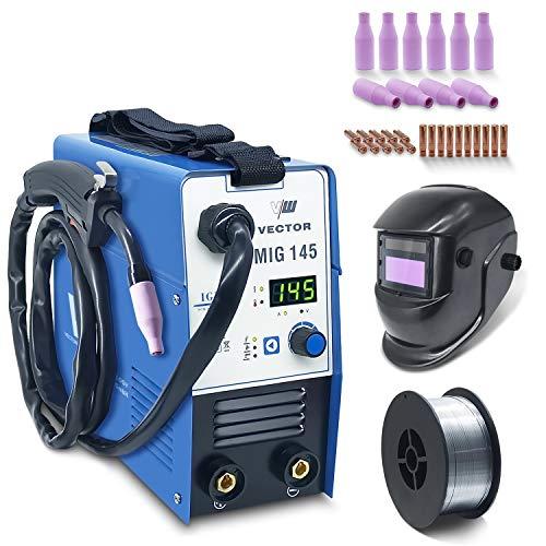 Fülldraht Schweißgerät ohne Gas - Drahtschweißgerät mit 145 Amp & Elektrodenschweißfunktion mit 140 Amp | Auto. Drahtvorschub - Inverter - Auto Schweißhelm - 1 Kg NoGas - Set von...
