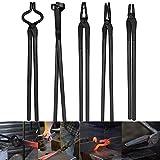 Schmiedezangen-Werkzeug-Set für Amboss, Messerherstellungs-Set enthält flache Zange & quadratische Backenzange & Bolzenzange & Klingenzange & Wolfsbackenzange (5 Stück)